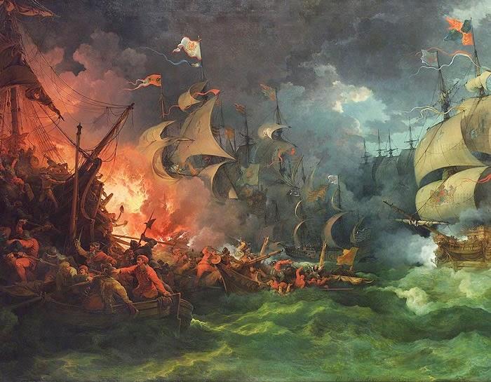 """""""A Derrota da Armada Espanhola"""", de Philipp Jakob Loutherbourg, 1796. Museu Nacional Marítimo, Londres, Inglaterra."""